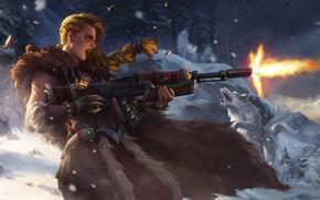 Обои зима, девушка, снег, оружие, волк, Лес