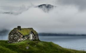 Картинка туман, берег, домик, водоем