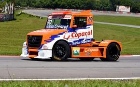 Картинка асфальт, оранжевый, Mercedes-Benz, трасса, грузовик, гоночный, капотный