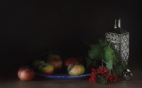 Картинка яблоки, натюрморт, графин