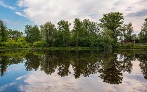 Картинка лето, небо, вода, деревья, отражение, река, Россия, Васильев Владимир