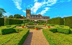 Картинка зелень, небо, трава, вода, солнце, облака, деревья, цветы, дизайн, замок, стена, газон, башня, сад, Великобритания, …