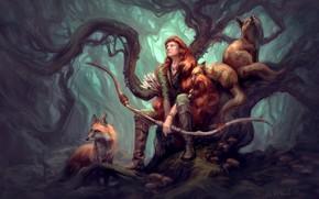 Картинка животные, девушка, природа, звери, дерево, арт, лисы, охотница, иллюстрация