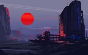Обои Солнце, Минимализм, Рисунок, Здание, Фон, Art, Sun, Фантастика, Concept Art, Science Fiction, Environments, Sketches, Vladimir ...