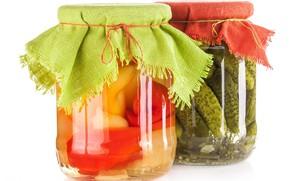 Картинка фон, еда, белый фон, банки, натюрморт, овощи, соленья, консервация