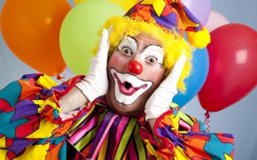 Обои шарики, лицо, фон, удивление, клоун, наряд, перчатки, воздушные, боке, грим