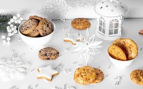 Картинка снежинки, печенье, Рождество, фонарь, Новый год