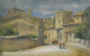 Картинка картина, городской пейзаж, 1905, Пьер Огюст Ренуар, Pierre Auguste Renoir, Улица в Вильнёв-лез-Авиньон