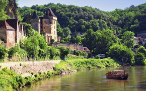 Картинка горы, город, река, Франция, France, Dordogne, village La Roque Gageac, Chateau de la Mallantrie