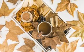 Картинка осень, листья, фон, дерево, кофе, colorful, печенье, чашка, wood, вафли, background, autumn, leaves, cup, coffee, …