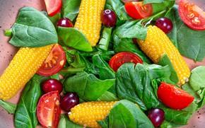 Картинка кукуруза, виноград, помидоры, салат, листья салата
