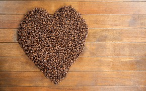 Картинка креатив, фон, сердце, доски, кофе, День святого Валентина, зёрна