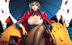 Картинка девушка, зонт, арт, Hero Warz