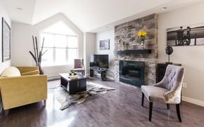 Картинка диван, интерьер, mid-century modern, гостиная, камин