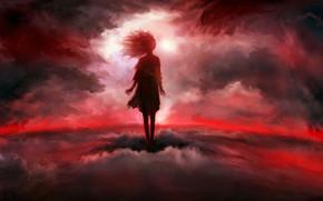 Картинка девушка, облака, фэнтези