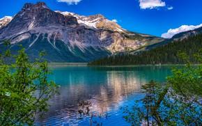 Картинка горы, озеро, Канада, Canada, British Columbia, Британская Колумбия, Yoho National Park, Канадские Скалистые горы, Emerald ...