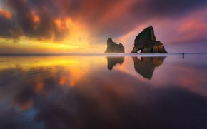 Картинка море, пляж, небо, свет, скала, океан, фотограф
