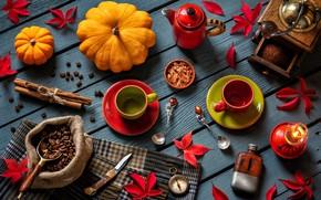 Картинка листья, стиль, кофе, свеча, чайник, нож, тыквы, кружки, корица, компас, кофейные зёрна, ложки, кофемолка, осенний ...