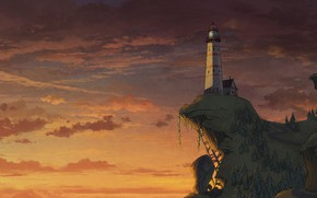 Картинка Закат, Облака, Вечер, Обрыв, Маяк, Стиль, Здание, Холм, Clouds, Архитектура, Арт, Art, Style, Sunset, Evening, …