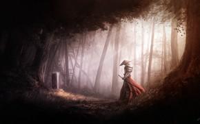 Картинка Деревья, Лес, Свет, Меч, Воин, Light, Fantasy, Арт, Art, Warrior, Фантастика, Катана, Ray, Katana, Sword, …