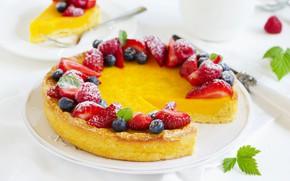 Картинка ягоды, черника, клубника, торт, десерт, лимонный