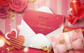 Картинка цветы, фон, подарок, надпись, сердечки, валентинка, Happy, Valentine Day, A Love you