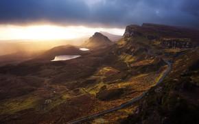 Картинка дорога, осень, закат, горы, рассвет, холмы, Шотландия