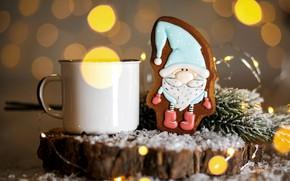 Картинка горячий, шоколад, рождество, печенье, фигурка, декор, глазурь