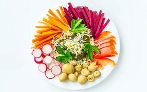 Картинка грибы, тарелка, белый фон, морковь, редис, свекла