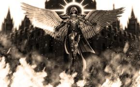 Картинка девушка, ангел, черепа, Warhammer 40k