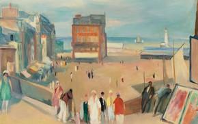 Картинка люди, дома, картина, городской пейзаж, Ле-Трепор, Анри Оттманн, Henri Ottmann