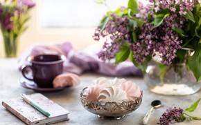Картинка цветы, чашка, ваза, натюрморт, зефир
