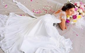 Картинка цветы, модель, невеста, свадьба