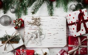 Картинка шары, елка, Новый Год, Рождество, подарки, Christmas, balls, wood, New Year, decoration, gifts, Merry, fir ...
