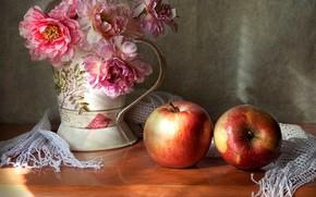 Картинка цветы, яблоки, букет, натюрморт, два яблока