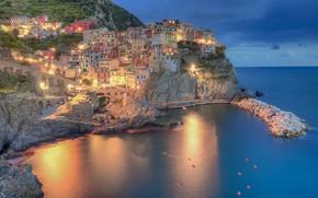 Картинка море, огни, дома, Италия, Манарола
