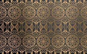 Картинка узор, текстура, черный фон, gold, орнамент, background, color, Luxury, ornamental