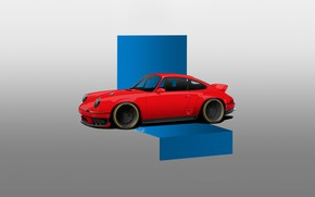 Картинка Красный, Авто, Машина, Red, Porsche 911, Minimalism, Transport & Vehicles, by Thomás Carlotto, 9 1 …