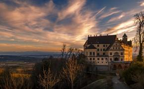 Картинка замок, вечер, архитектура