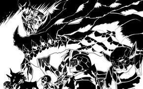 Картинка дракон, арт, солдаты, монохромная