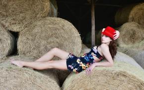 Картинка секси, шляпа, сено, ножки, красотка, фигурка, Yulia