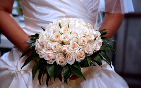 Картинка девушка, розы, букет, невеста, свадьба, bouquet, wedding