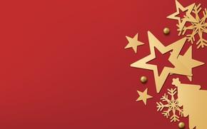 Картинка зима, снежинки, red, golden, black, Christmas, красный фон, winter, background, stars, snowflakes