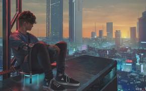 Картинка стрижка, небоскребы, парень, кроссовки, вид сверху, на крыше, огни большого города, панорама города, сидит на …