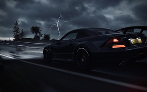 Картинка HDR, Mercedes, Benz, Clouds, Speed, Storm, AMG, Street, Game, Black Series, Thunder, Trees, UHD, Xbox …