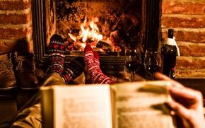 Картинка тепло, вино, ноги, бокалы, носки, камин, двое