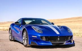 Картинка синий, спорткар, вид спереди, Gran Turismo, Ferrari F12 TDF