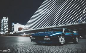 Картинка Авто, Ночь, Синий, Город, Машина, Ferrari, Суперкар, Передок, Спорткар, Gran Turismo, Ferrari GTO, Ferrari 288 …