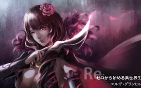 Картинка девушка, оружие, аниме, арт, нож, Re: Zero kara Hajimeru Isekai Seikatsu, С нуля