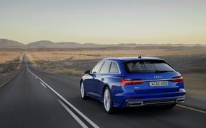 Картинка синий, Audi, разметка, 2018, универсал, A6 Avant